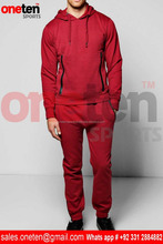 Burgundy Color Skinny Fit Hooded Tracksuit with Sports Zips