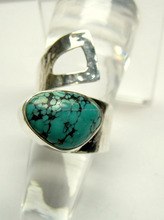 Tibetan Matrix Turquoise Cabochon Gemstone 925 Sterling Silver Ring, Designer Textured Handmade Jewelry, Indian Silver 925 Ring