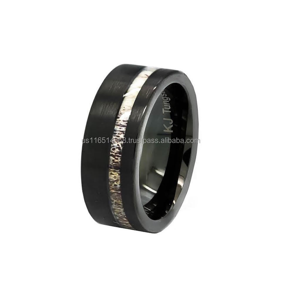 Black and Silver Tungsten Wedding Ring Band Natural Deer Antler Engagement Ring #TDR78