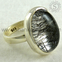 Perfect Design Black Rutile Ring Handmade 925 Silver Jewelry Wholesale Silver Jewelry Manufacture