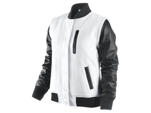 Custom made varsity jacket with synthetic leather arms