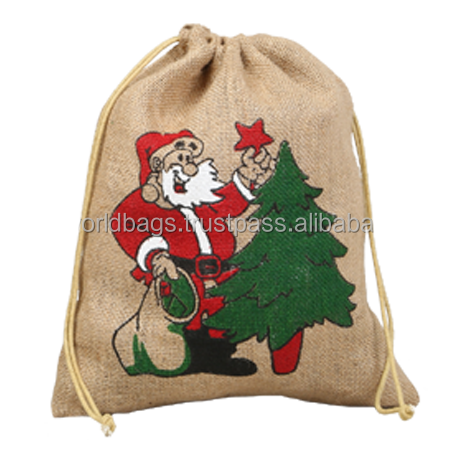 jute drawstring Christmas gift pouch bag
