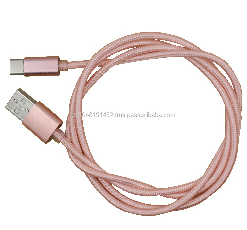 China factory custom phone accessories of typec usb cable with colorful nylon braided usb cable type C