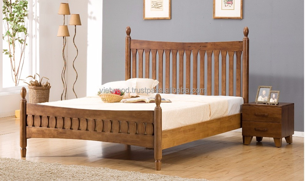Solid rubber wood Bed Frame