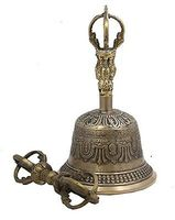 Indian Antique Tibetan Religious Brass Quality Bell Hand Vajra Dharma Objects Tibetan Buddhist Meditation Bell and Dorje Set