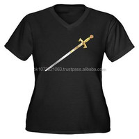 Black Cotton T- shirt, Masonic T-Shirt with Templar Sword Printing