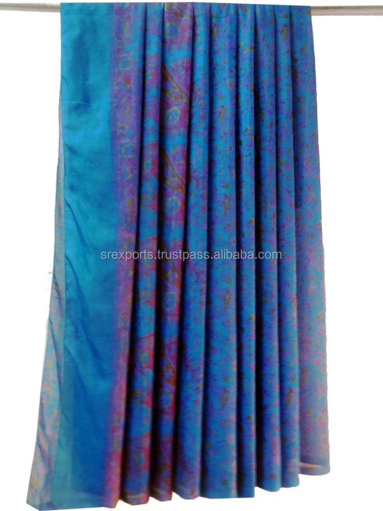 Indian Ethnic Handmade Pure Silk Saree Cultural Women Wear Pure Silk Sari Craft Sewing Fabric