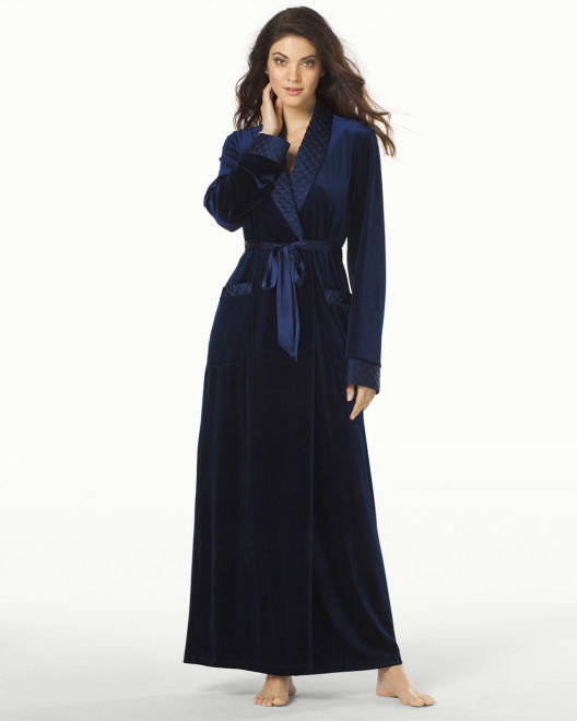 Long Velvet Robe Black new Design
