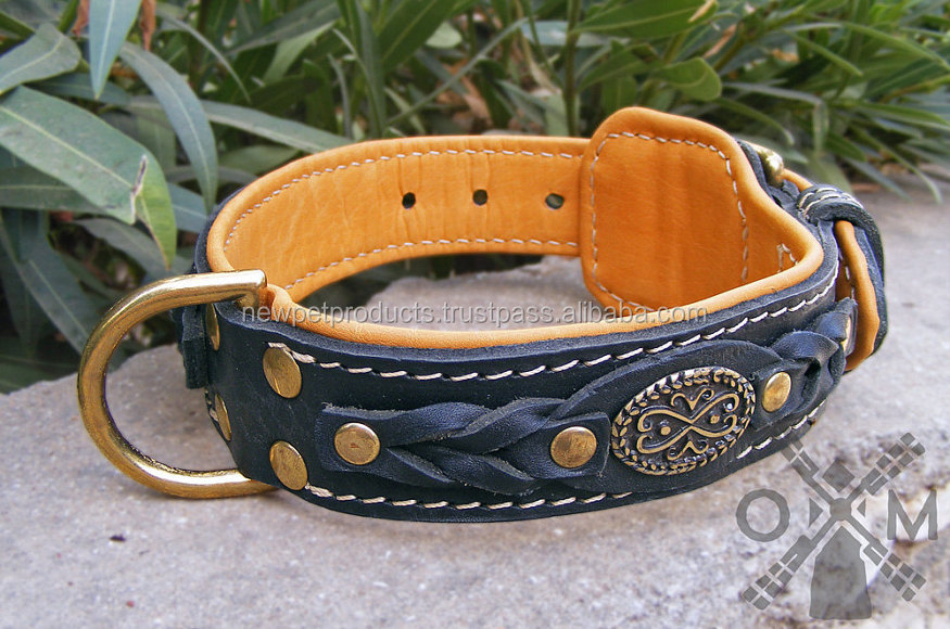 Factory wholesale price genuine leather dog collars for lovely pets