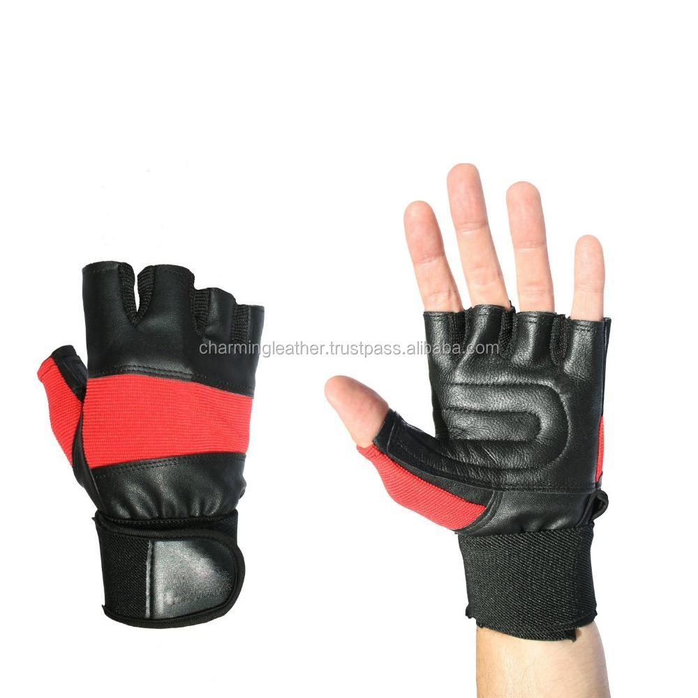 CLE Fitness Equipment Weight Lifting Real Leather Gym Gloves