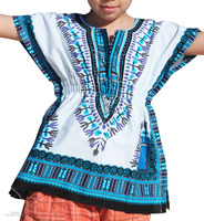 Childs Bold Dashiki African Festival Shirt With Elastic Pull Waist Open Collar Short Sleeve