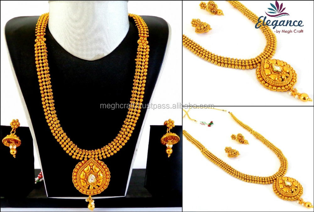 Wholesale Long Rani Haar set - Indian Temple jewellery - imitation jewelry -One gram gold jewellery - ladies artificial jewelry