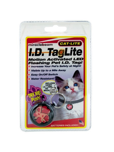 motion activated led flashing cat id tag (princess design)