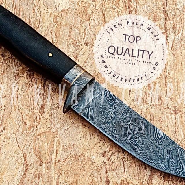 York Vivant-Custom Handmade Damascus Steel Fixed Blade Skinner/Hunting Knife YV-AB67 Black Micarta Handle