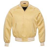 Hito Elegant New Vegas Gold Body Vegas Gold | White Sleeves Satin Classic Letterman Baseball Varsity Jacket VJ-019