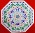White Decorative Stone Inlay Table