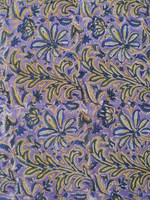 Purple color printed viscose fabric / Block printed fabric / Traditional design printed fabric