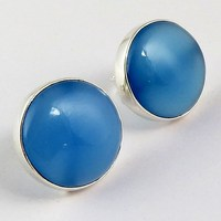 Blue Chalcedony Awesome Stud Earring !! 925 Indian Silver Cheap Blue Chalcedony Gemstone Silver Jewelry