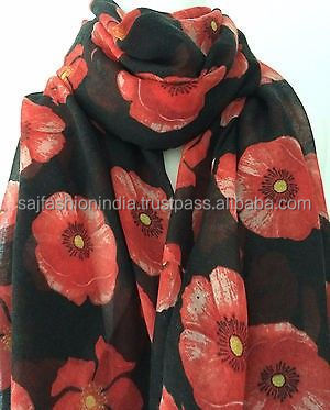 Wholesale black-poppy-scarf-red-flowers-wrap-floral-print-ladies-shawl-