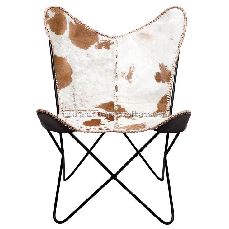 white jersery cowhide leather butterfly chair exotic white brown