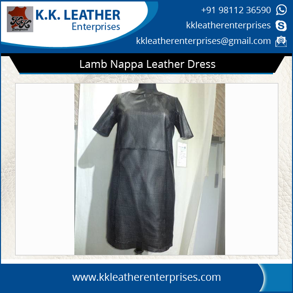 Lamb Nappa Perforation Tight Leather Dress for Women