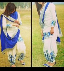 Indian White and Blue Cotton Patiala Suit