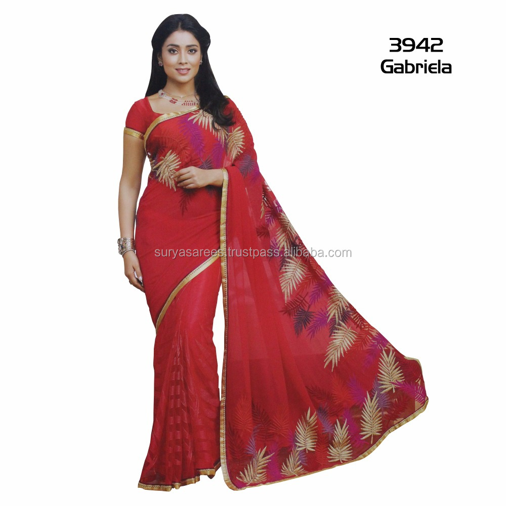 Georgette saree with embroidery