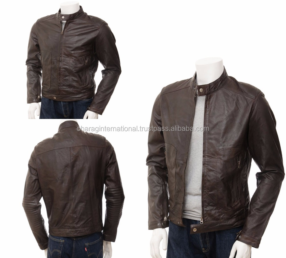 OEM factory price leather men fashion jacket for winter real leather