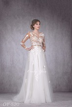 Gorgeous Sexy Wedding Dress Opened Back See-through Nude Corset Fashionable 3D Lace Long Sleeves Golden Belt