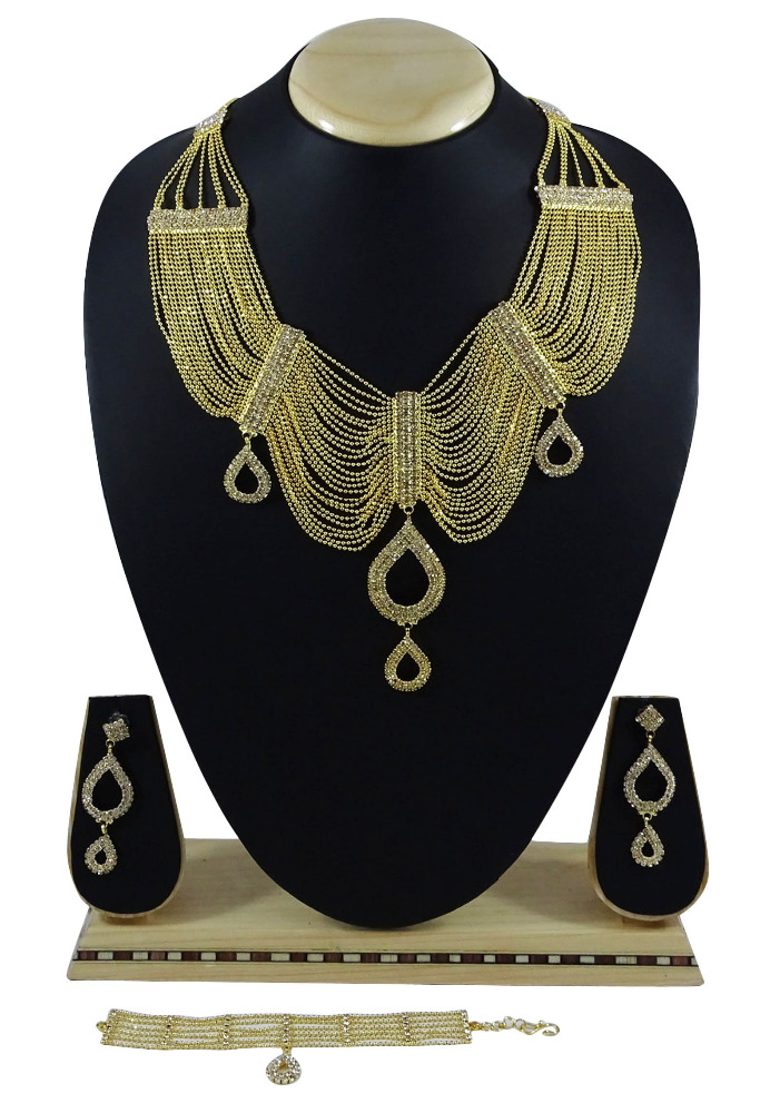 Traditional Women Goldplated Party 4PC Necklace Set Ethnic Indian New Jewelry IMRB-BNG68A