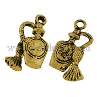 Tibetan Style Liquor Bottle Pendants, Antique Golden, Lead Free & Nickel Free; 20x10x4mm, Hole: 2mm