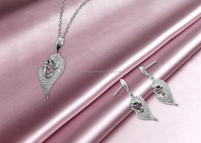 CZ studded Exclusive Silver Plated Pendant Set