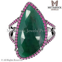 Pave Gemstone Ruby Emerald Ring 925 Sterling Silver Jewelry Handmade Ring Jewellery Supplier Exporter