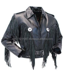 2015 New fashion Ladies Cropped Leather Jacket with Fringe for womens
