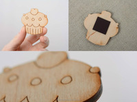 Wooden decorative handmade element for creativity Cupcake