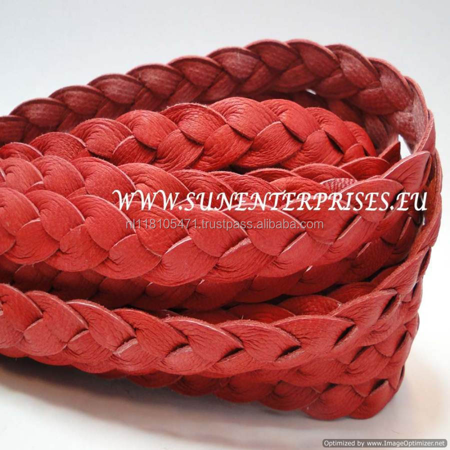 Flat Nappa Leather cords -nappa flat braided red 12mm