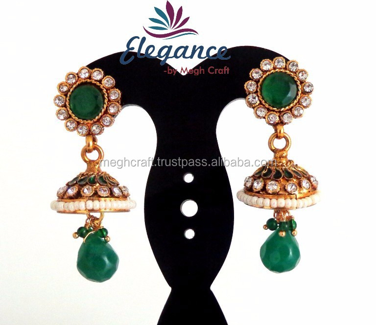 GREEN SOUTH INDIAN JHUMKA EARRINGS-2015 BOLLYWOOD FASHION GOLD PLATED JHUMKA EARRINGS ONLINE WHOLESALE