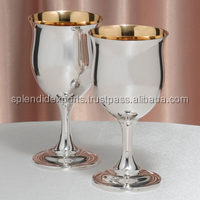 Handmade Silver polished Metal wine goblet