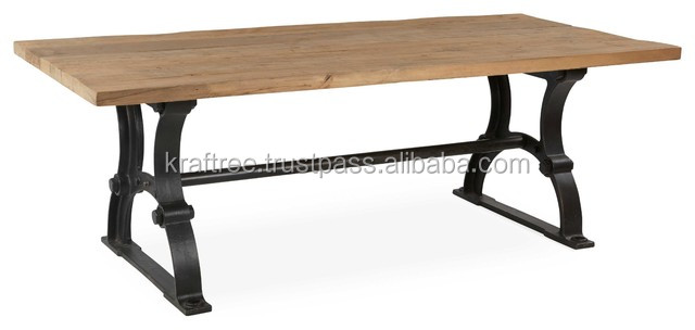 Dinning table with cast iron base and wooden top