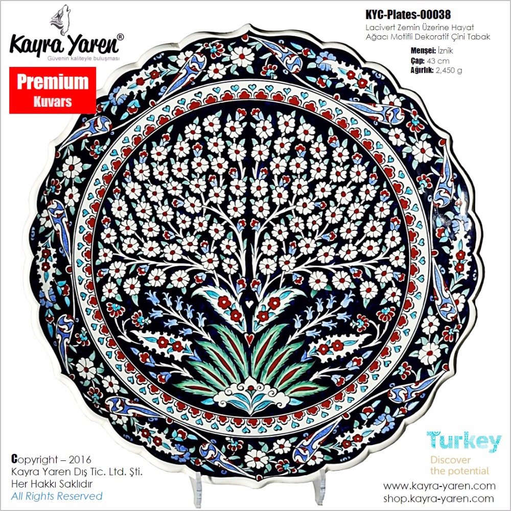Hand made decorative ceramic plate - Decorative hand made traditional Turkish ceramic plate