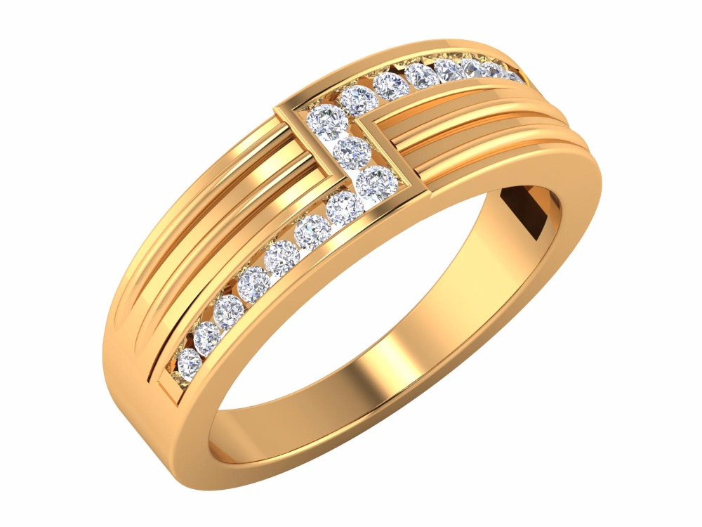 2016 Indian Beautiful 14kt Yellow Gold SGL Certified Natural Diamond Channel Setting Rings
