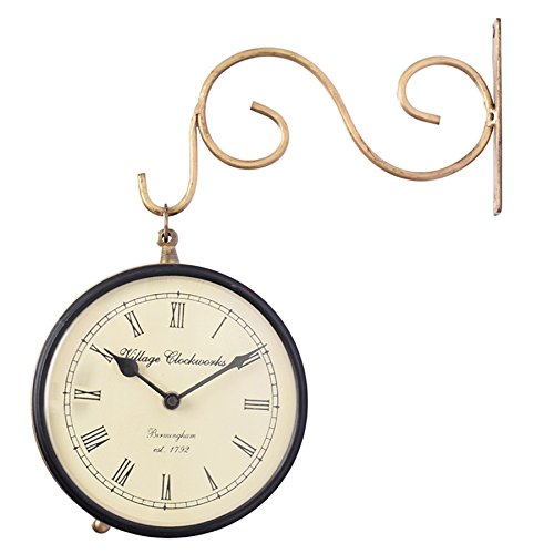 Vintage Victorian Decorative Station Wall Clock Made of Copper with Double Sided Clock Face and Iron Wall Bracket