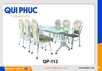 STAINLESS STEEL DINING CHAIR AND GLASS DINING TABLE DINNING SET