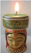 wooden tea light carved lady candle