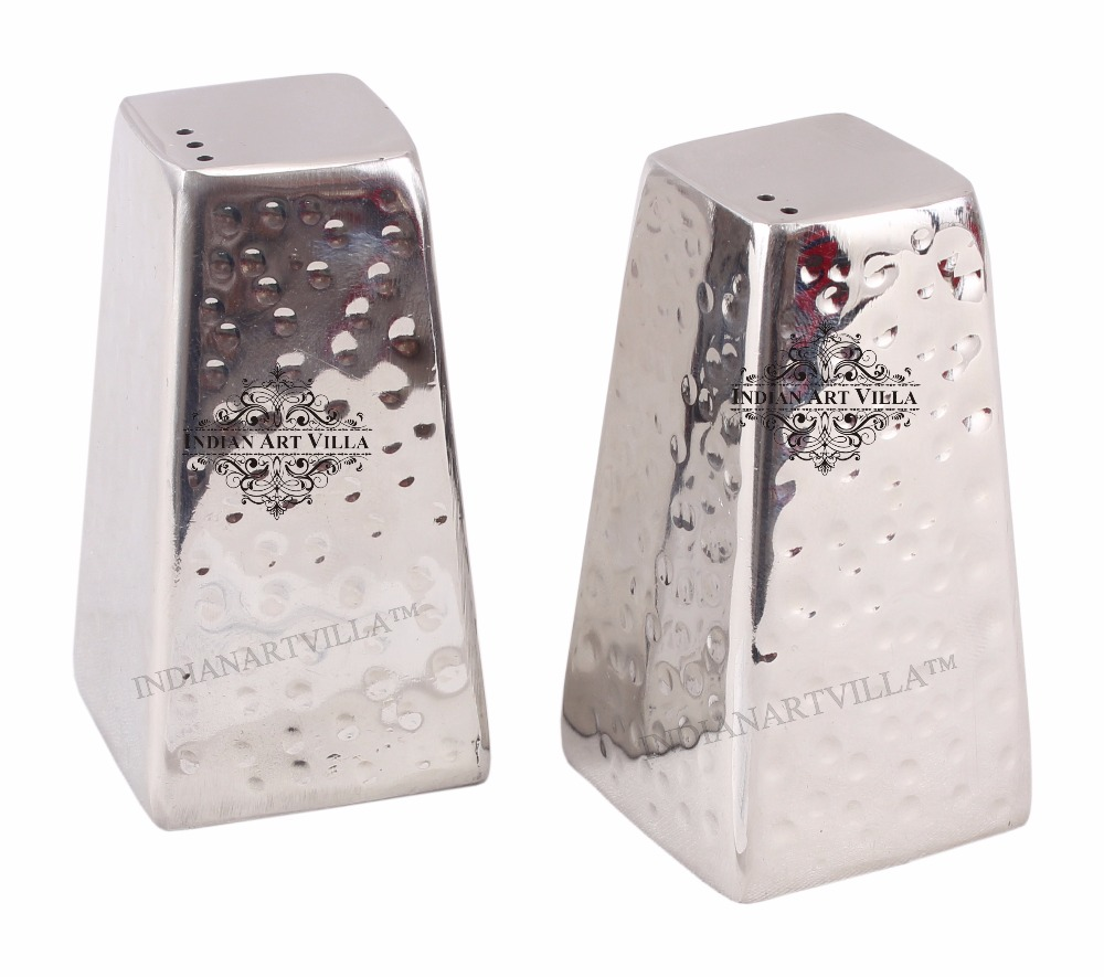 IndianArtVilla Steel Round Salt & Pepper Shaker Set | For Tableware Home Hotel Restaurant