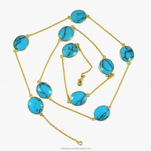 Pamilla necklace - 18k Gold Plated - Synthetic Turquoise - Gemstone long chain - Brass - Necklace - SINL0152
