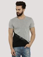 T-Shirt With Diagonal PU Patch/Custom T-Shirt With Diagonal PU Patch/Cotton T-Shirt With Diagonal PU Patch