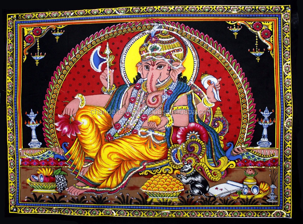 Lord Ganesha Deity Art Sequin Work Indian God Batik Wall decor cotton Tapestry Wall Hanging Good luck charm Ethnic Wholesale lot