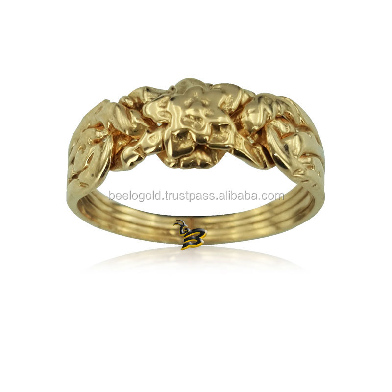 14K Solid Gold Turkish Rose Design 4 Band Puzzle Ring