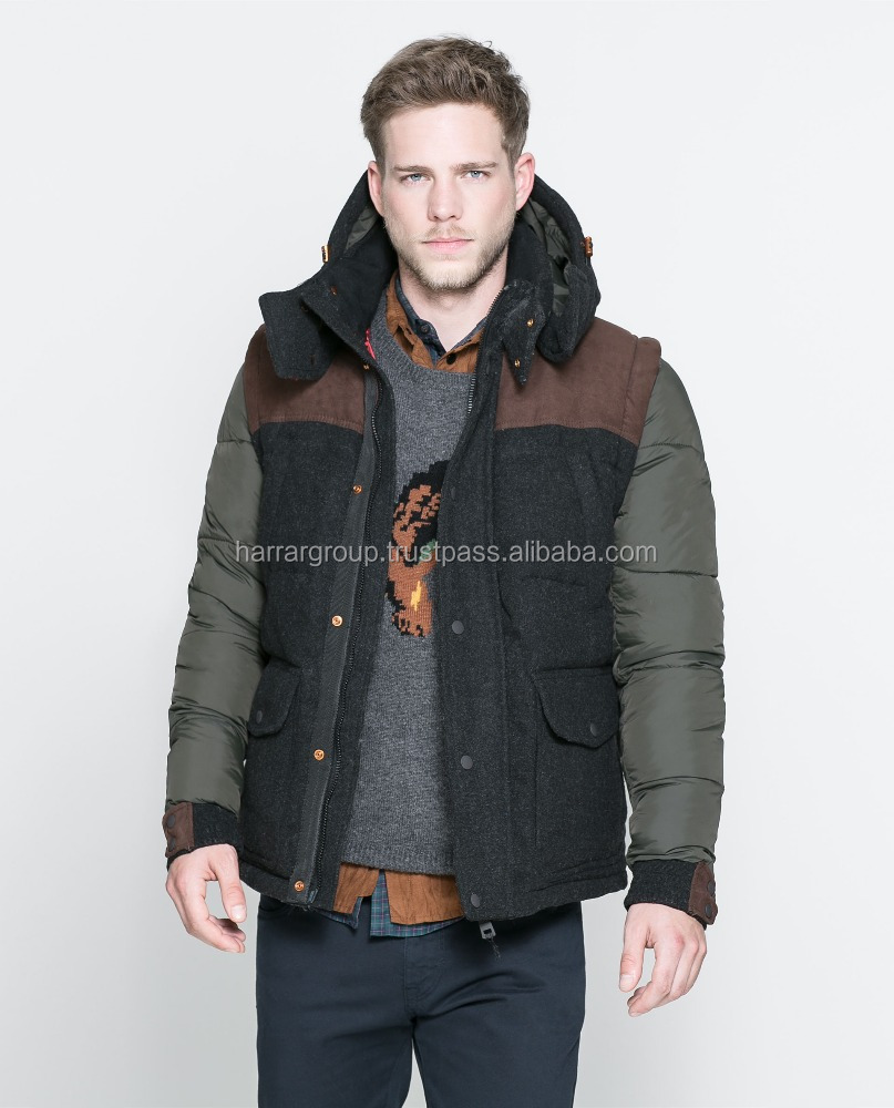 new latest design men hood winter polyester nylon padding jacket